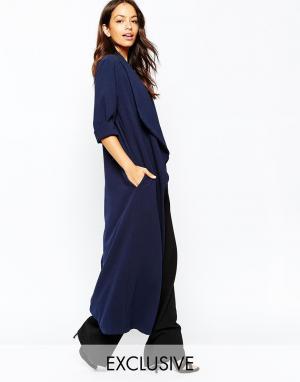 Never Fully Dressed Длинное легкое пальто из крепа с драпировкой. Цвет: темно-синий