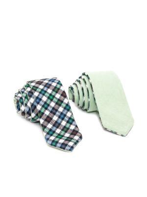 Галстук двухсторонний Churchill accessories. Цвет: черный, белый, зеленый, коричневый, синий, темно-бордовый, темно-коричневый, темно-синий