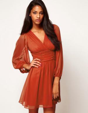 ASOS Короткое приталенное платье с длинными рукавами. Цвет: фиолетовый