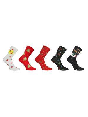 Носки 5 пар Master Socks. Цвет: белый, черный, красный