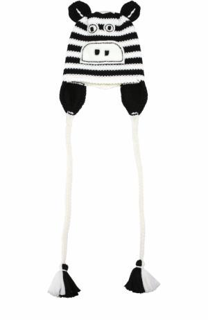 Шерстяная шапка с принтом и декором Catya. Цвет: черно-белый