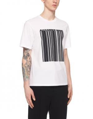 Хлопковая футболка Alexander Wang. Цвет: белый, черный