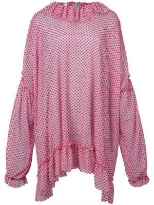 Блузка свободного кроя с оборками Jourden. Цвет: красный