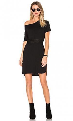 Платье из льняного джерси statues Assembly Label. Цвет: черный