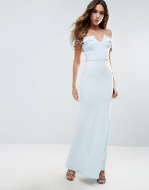 Club L Платье макси с открытыми плечами и подолом годе Bridesmaid. Цвет: синий