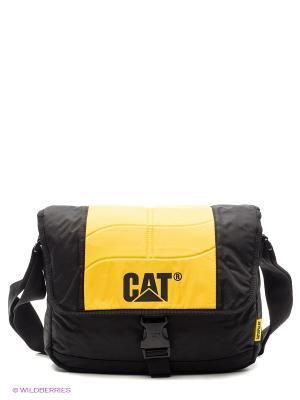 Сумка на плечо. Объём 10л Caterpillar. Цвет: черный, желтый