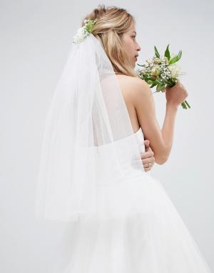 ASOS Гребень для волос с вуалеткой DESIGN Bridal. Цвет: белый