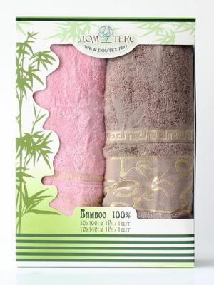 Набор махровых полотенец бамбук Домтекс. Цвет: коричневый, розовый