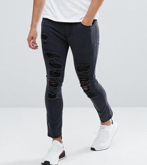 Liquor N Poker Черные укороченные джинсы скинни с прорехами. Цвет: черный