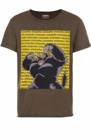 Хлопковая футболка с принтом Elevenparis. Цвет: хаки
