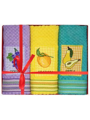 Полотенце, 3 шт BONITA. Цвет: оранжевый, персиковый, темно-зеленый