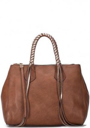 Коричневая кожаная сумка с короткими ручками Gianni Chiarini. Цвет: коричневый
