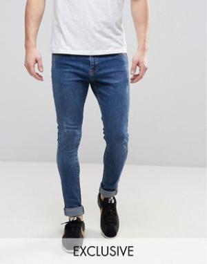 Brooklyn Supply Co. Супероблегающие потертые джинсы Co Dyker. Цвет: синий