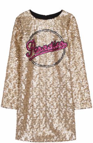 Платье с вышивкой пайетками Marc Jacobs. Цвет: золотой