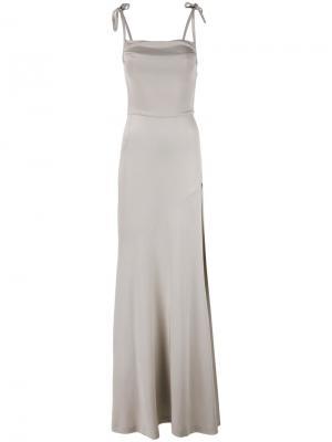 Длинное платье-шифт Alessandra Rich. Цвет: телесный