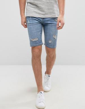 Good For Nothing Синие состаренные джинсовые шорты супероблегающего кроя Nothi. Цвет: синий