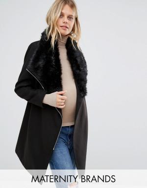 New Look Maternity Пальто для беременных с воротником из искусственного меха и поясом. Цвет: черный