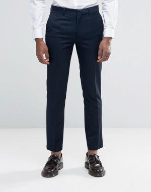 Harry Brown Темно-синие брюки узкого кроя. Цвет: темно-синий