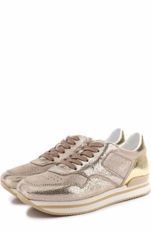 Кросcовки из металлизированной кожи на шнуровке Hogan. Цвет: золотой