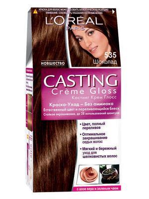 Стойкая краска-уход для волос Casting Creme Gloss без аммиака, оттенок 535, Шоколад L'Oreal Paris. Цвет: коричневый