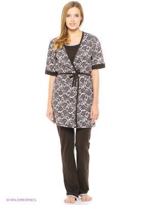 Комплект домашней одежды ( халат, футболка, брюки) HomeLike. Цвет: белый, коричневый