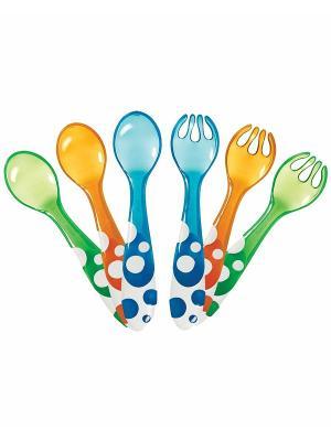 Набор ложки, вилки пластиковые 6 шт. MUNCHKIN. Цвет: зеленый, оранжевый, синий