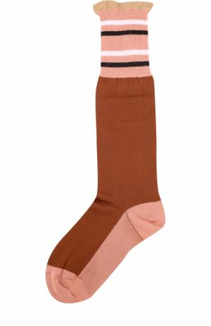Хлопковые носки с оборкой Marni. Цвет: коричневый