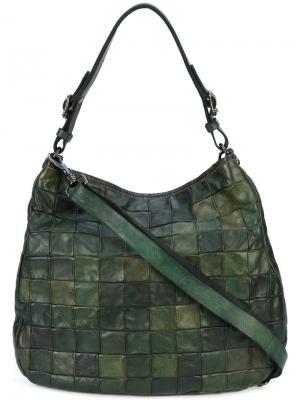 Текстурированная сумка-тоут с узором Campomaggi. Цвет: зелёный