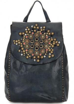 Кожаный рюкзак с металлическим декором Campomaggi. Цвет: синий