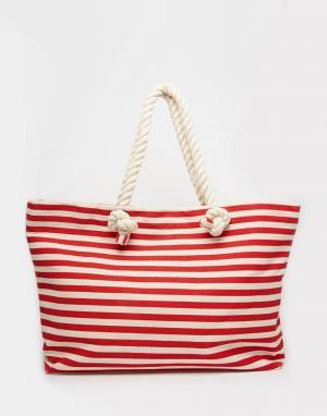 Buji Baja Холщовая пляжная сумка с полосками и ручками из веревки. Цвет: красная полоска