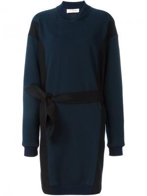 Платье-свитер с поясом A.F.Vandevorst. Цвет: синий