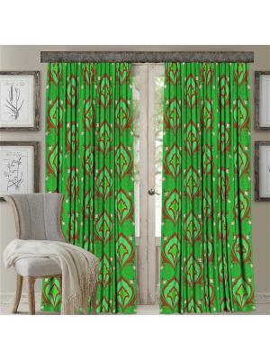 Комплект штор, Лилия-1 (зеленый), печать 150*270 МарТекс. Цвет: зеленый