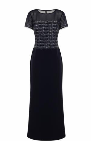 Приталенное платье-макси с коротким рукавом St. John. Цвет: темно-синий