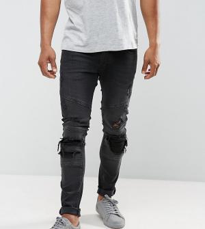 Just Junkies Байкерские джинсы слим с рваной отделкой. Цвет: черный
