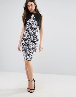 Vesper Платье-футляр с контрастными рукавами и цветочным принтом. Цвет: черный