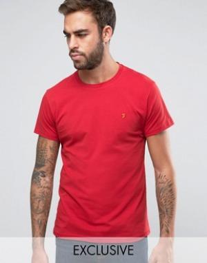 Farah Эксклюзивная футболка слим с логотипом F. Цвет: красный
