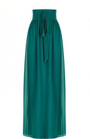 Однотонная шелковая юбка-макси Lanvin. Цвет: зеленый