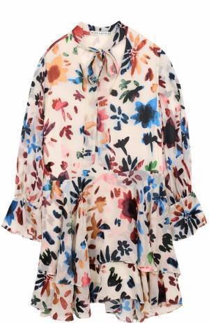 Мини-платье свободного кроя с оборками и принтом Alice + Olivia. Цвет: разноцветный