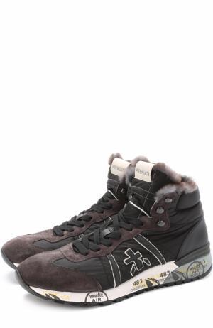 Высокие комбинированные кроссовки на шнуровке с декоративной отделкой Premiata. Цвет: черный
