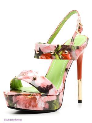 Босоножки MILANA. Цвет: розовый, зеленый