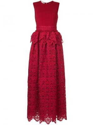 Кружевное платье с баской Antonio Berardi. Цвет: красный