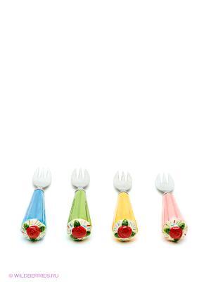 Набор десертных вилок Pavone. Цвет: желтый, зеленый, розовый, синий