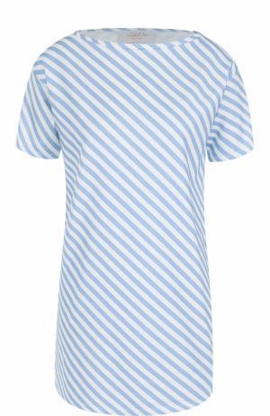 Удлиненная футболка прямого кроя в полоску Tak.Ori. Цвет: голубой
