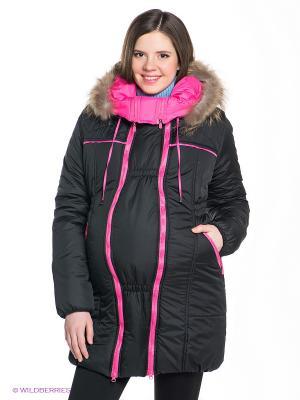 Куртка EUROMAMA. Цвет: черный, малиновый