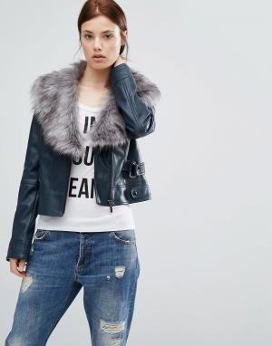 Urbancode Полиуретановая байкерская куртка с воротником из искусственного меха U. Цвет: темно-синий