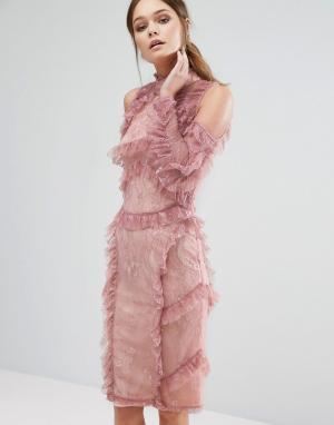True Decadence Кружевное платье миди с оборками. Цвет: фиолетовый