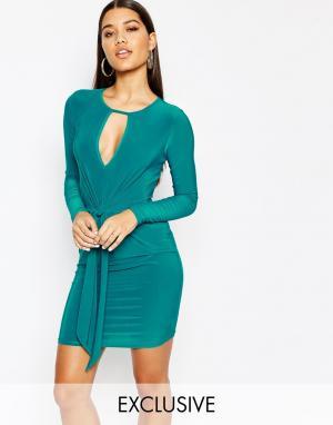 Club L Платье мини с завязывающимся узлом. Цвет: зеленый