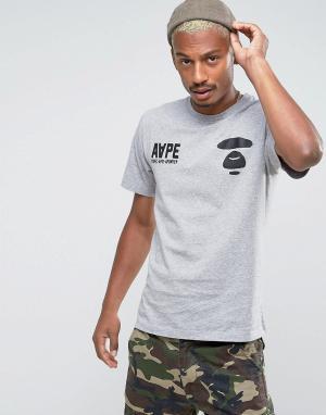 AAPE BY A BATHING APE Футболка с логотипом. Цвет: серый