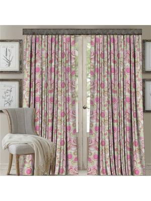 Комплект штор, Роза, печать 150*270 МарТекс. Цвет: розовый