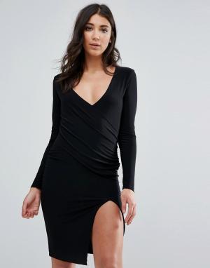 Missguided Черное платье миди с длинными рукавами, запахом и низом разрезом Mis. Цвет: черный